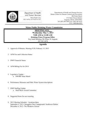 Agenda meeting #121 May 1 2013 - Maine.gov