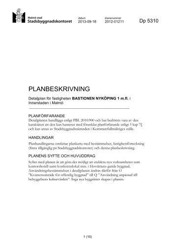 5310 planbeskrivning .pdf - Malmö stad