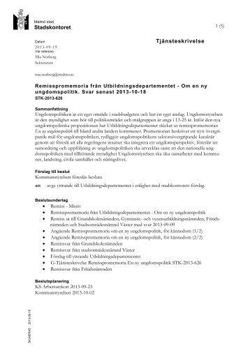 Om en ny ungdomspolitik, STK-2013-626 - Malmö stad