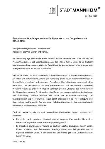 Etatrede von Oberbürgermeister Dr. Peter Kurz ... - Stadt Mannheim