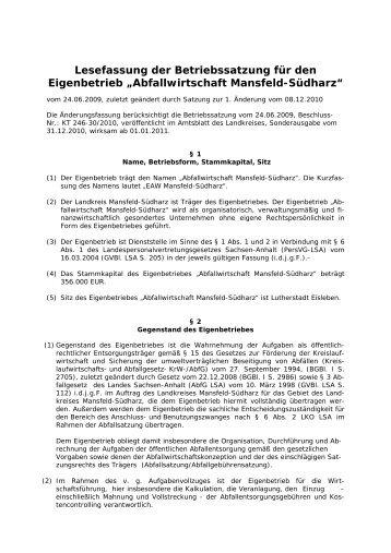 Lesefassung der Betriebssatzung für den Eigenbetrieb - Landkreis ...