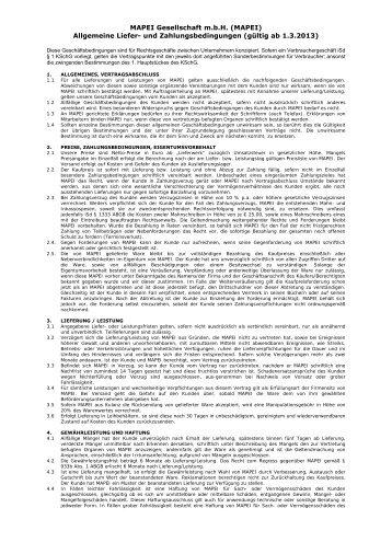 MAPEI Gesellschaft m.b.H. (MAPEI) Allgemeine Liefer- und ...