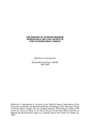 bureaucracy and civil society in post-authoritarian greece