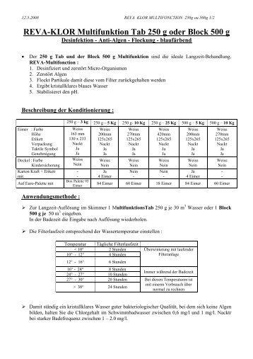 Reva-Klor Multifunktion 250g und 500g - Mareva