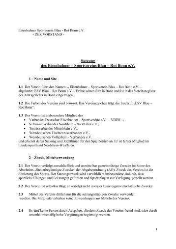 Satzung des Eisenbahner ± Sportvereins Blau ± Rot Bonn e.v.