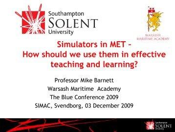 Simulators in MET – How should we use them in effective teaching ...