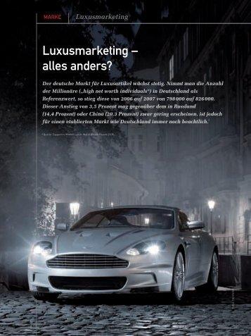 Luxusmarketing - alles anders? (PDF) 5/08 - marke41
