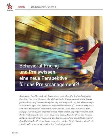 Behavioral Pricing und Preiswissen: eine neue ... - marke41