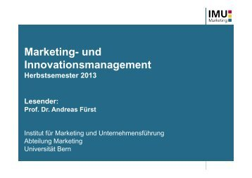 IMU - Marketing - Universität Bern