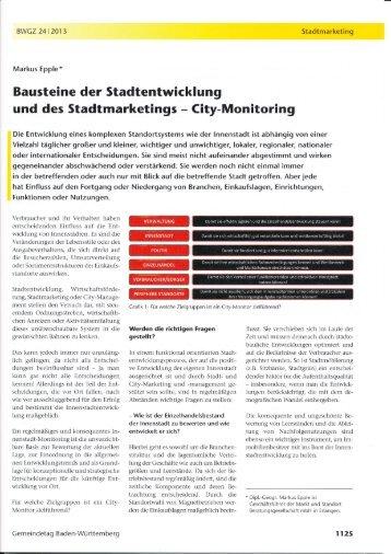 Bausteine der Stadtentwicklung - Markt und Standort ...