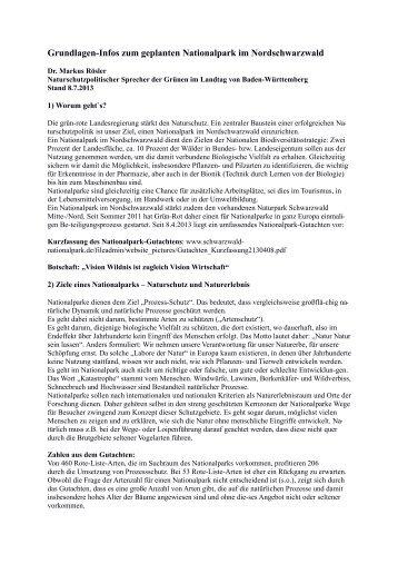 Grundlagen-Infos zum geplanten Nationalpark ... - markusroesler.de