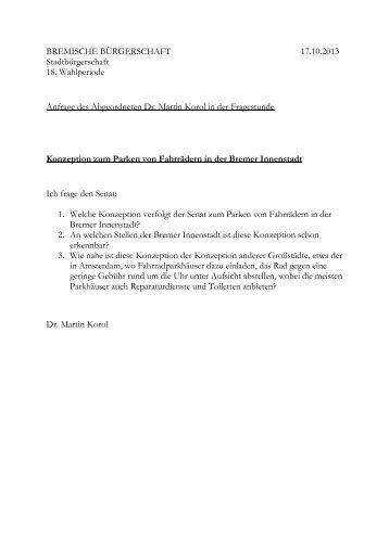 BREMISCHE BÜRGERSCHAFT 17.10.2013 Stadtbürgerschaft 18 ...