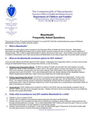 FAQ of MassHealth - Mass.Gov