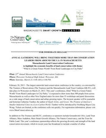 Press Release: 2013 Mass Land Conservation ... - Mass.Gov