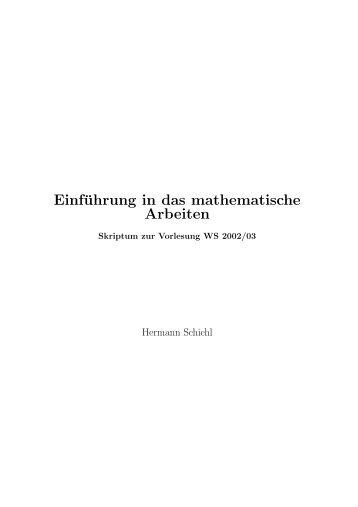 Einführung in das mathematische Arbeiten - an der Fakultät für ...