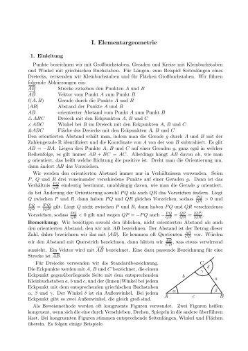 I. Elementargeometrie