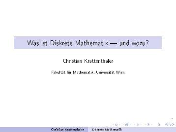 diskret - an der Fakultät für Mathematik! - Universität Wien