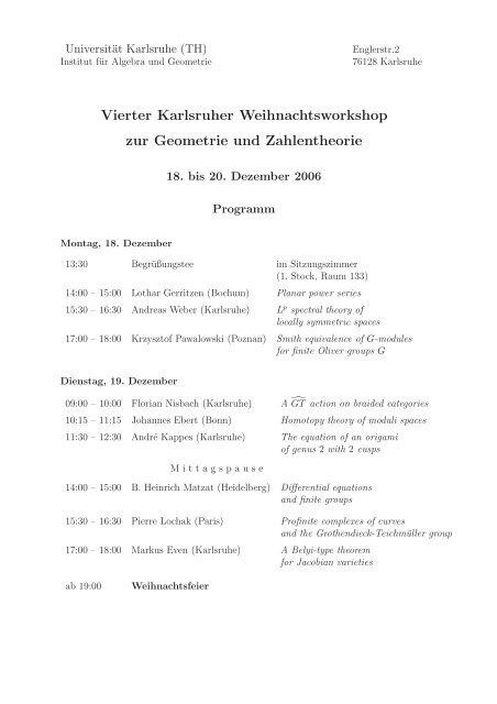 Vierter Karlsruher Weihnachtsworkshop zur Geometrie und ...
