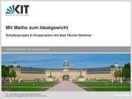 Schülerprojekt in Kooperation mit dem Hector-Seminar - KIT