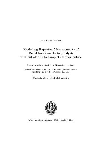Modelling Repeated Measurements of Renal Function during ...