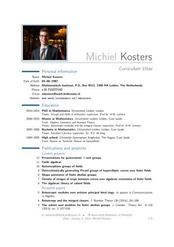 Michiel Kosters – Curriculum Vitae - Mathematisch Instituut Leiden