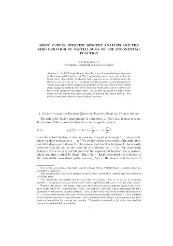 Szego Curves - UCLA Department of Mathematics