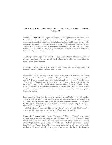 Fermat's Last Theorem - UCLA Department of Mathematics