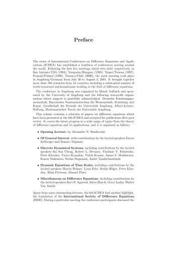 Preface - am Institut für Mathematik der Universität Augsburg