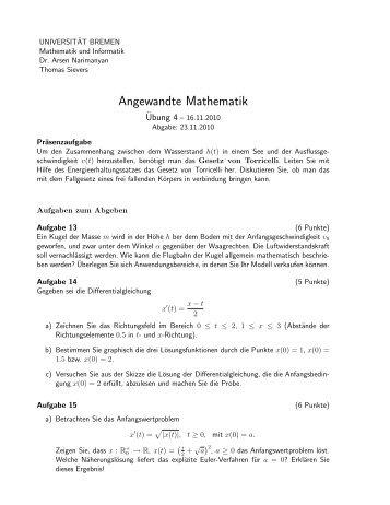 Blatt 4 - Studiengang Mathematik an der Universität Bremen