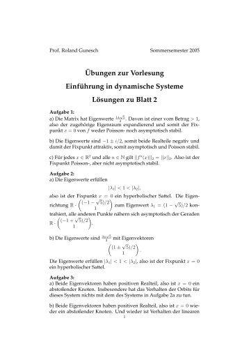 Übungen zur Vorlesung Einführung in dynamische Systeme ...