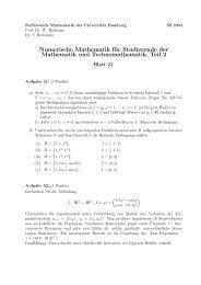 Numerische Mathematik für Studierende der Mathematik und ...