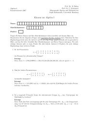 Klausur zur Algebra I - Universität Hamburg