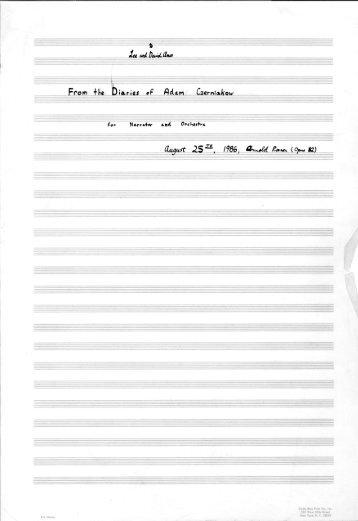 Rosner - From the Diaries of Adam Czerniakow, op. 82