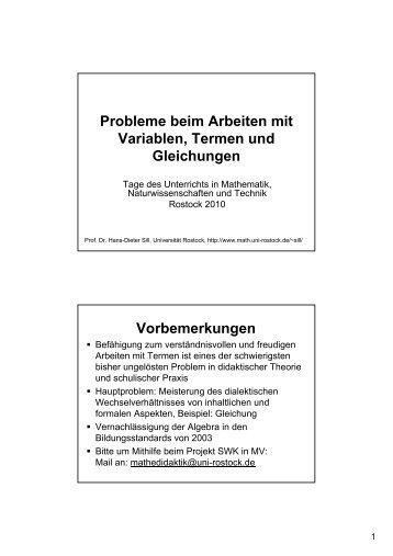 Arbeiten mit Variablen, Termen und Gleichungen - Fachbereich ...