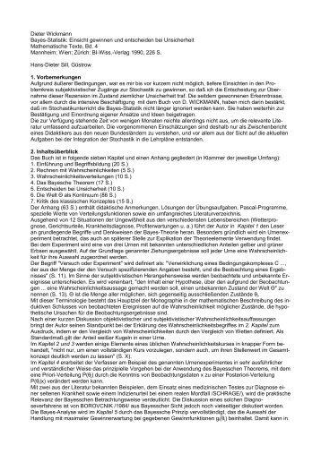 Dieter Wickmann Bayes-Statistik: Einsicht gewinnen und ...