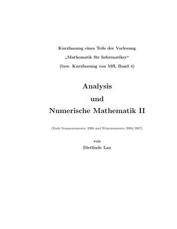 Analysis und Numerische Mathematik II