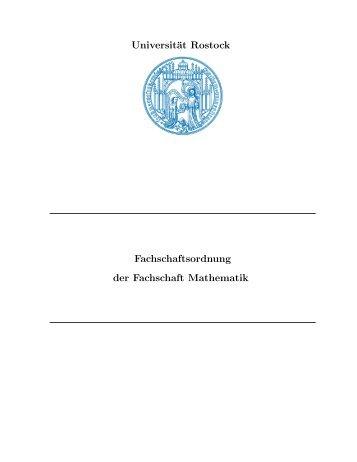Fachschaftsordnung - Fachbereich Mathematik der Universität ...