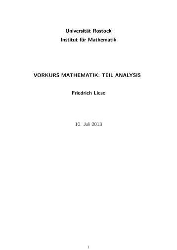 TEIL ANALYSIS Friedrich Liese 10. Juli 2013 - Fachbereich ...