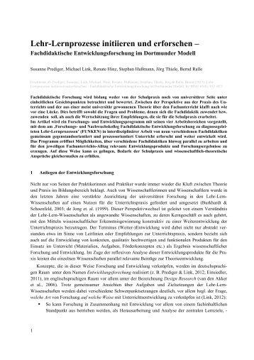Lehr-Lernprozesse initiieren und erforschen – - TU Dortmund