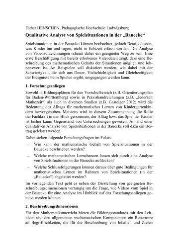 """Qualitative Analyse von Spielsituationen in der """"Bauecke"""""""