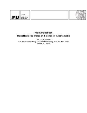 Modulhandbuch Hauptfach: Bachelor of Science in Mathematik