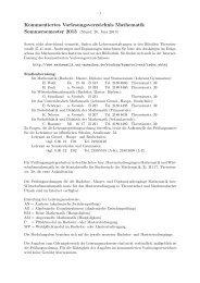 Kommentiertes Vorlesungsverzeichnis Mathematik