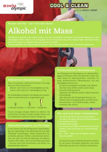 Alkohol mit Mass - Cool and Clean