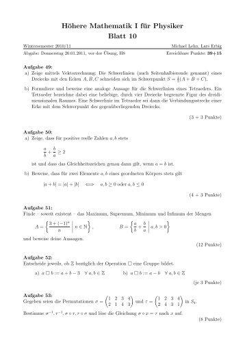 Höhere Mathematik I für Physiker Blatt 10