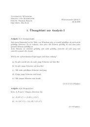 1. ¨Ubungsblatt zur Analysis I - Institut für Mathematik - Universität ...