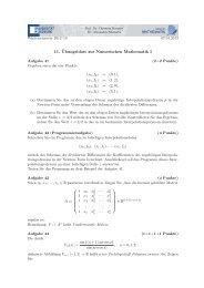 11. Übungsblatt zur Numerischen Mathematik I - Institut für Mathematik