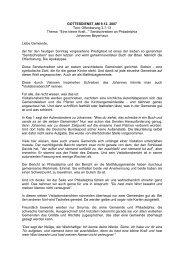 GOTTESDIENST AM 9.12. 2007 Text: Offenbarung 3,7-13 Thema ...