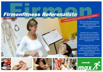 Firmenfitness Referenzliste (pdf) - Maxfitness