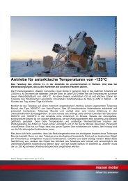 Antriebe für antarktische Temperaturen von -125°C - Maxon Motor