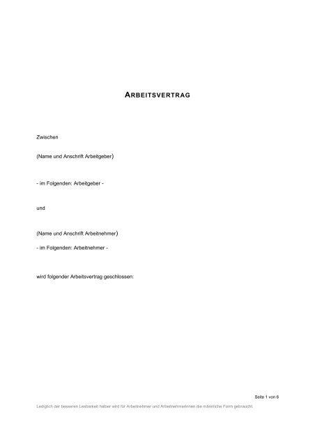 Arbeitsvertrag Gastronomie